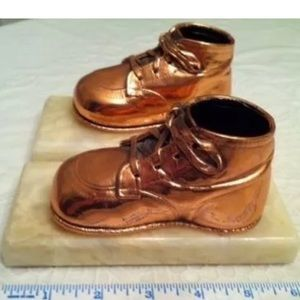 Other - Adorable bronzed copper colored baby shoe bookends
